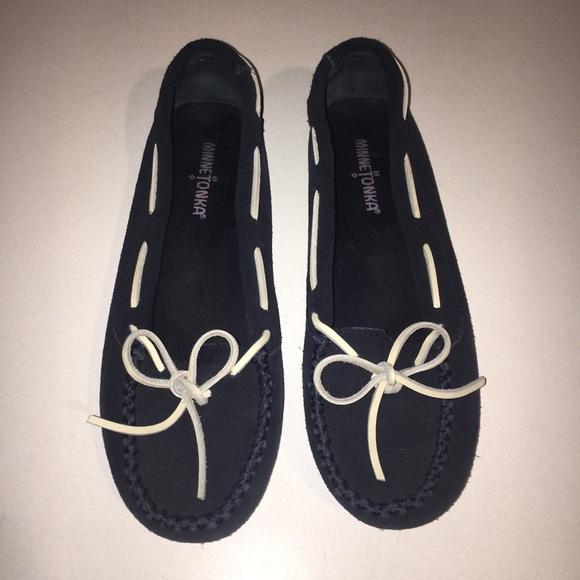 Minnetonka Shoes - Minnetonka Navy Blue Suede Moccasins